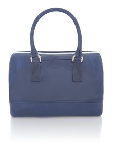 Candy blue large bowler bag