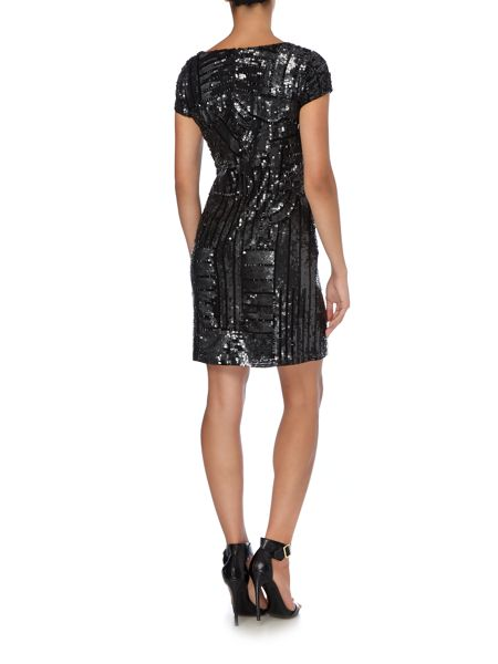 Adrianna Papell Short beaded dress with cap sleeve