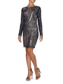 Adrianna Papell Long sleeve all over sequin dress