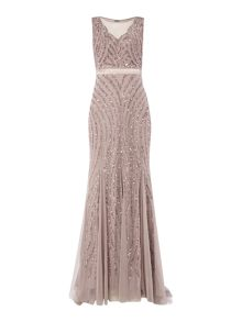Sleveeless sequin mesh gown with deep V