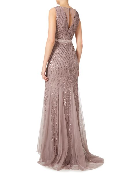 Adrianna Papell Sleveeless sequin mesh gown with deep V
