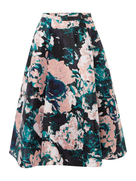 Adrianna Papell A line midi floral skirt