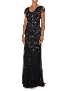 Cap sleeve V neck gown with sequin pattern