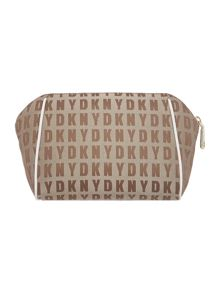 Saffiano neutral medium cosmetic bag