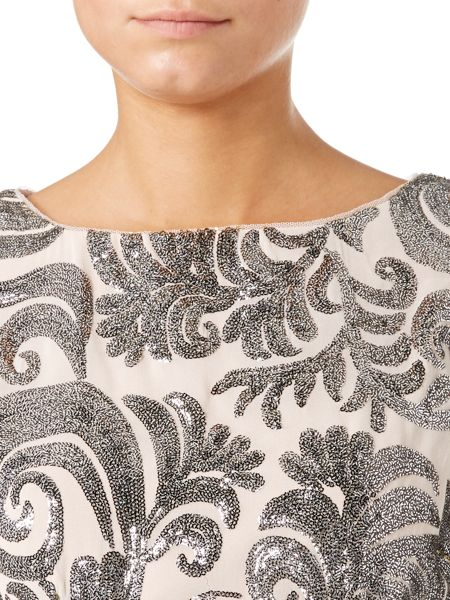 Adrianna Papell 3/4 sleeve top with sequin pattern