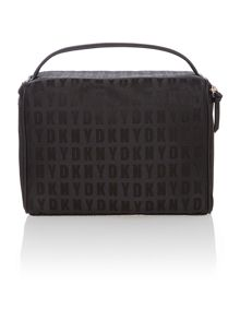 Saffiano black train case cosmetic bag set