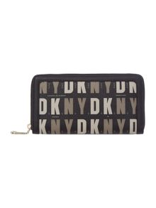 Coated logo multi-coloured large zip around purse