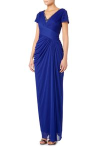 Cap sleeve gown with beaded V neck
