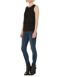 Frayed applique sleevless top