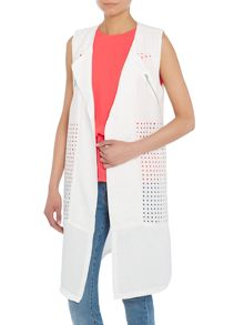 Y.A.S. Sleeveless lazer cut panel drape blazer