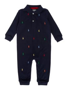 Baby Boys All Over Print Pony Polo All In One
