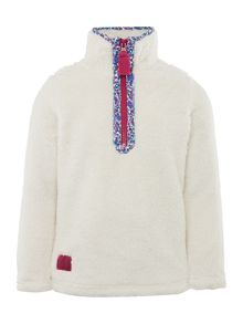 Girls Floral Trimmed Half Zip Sweater