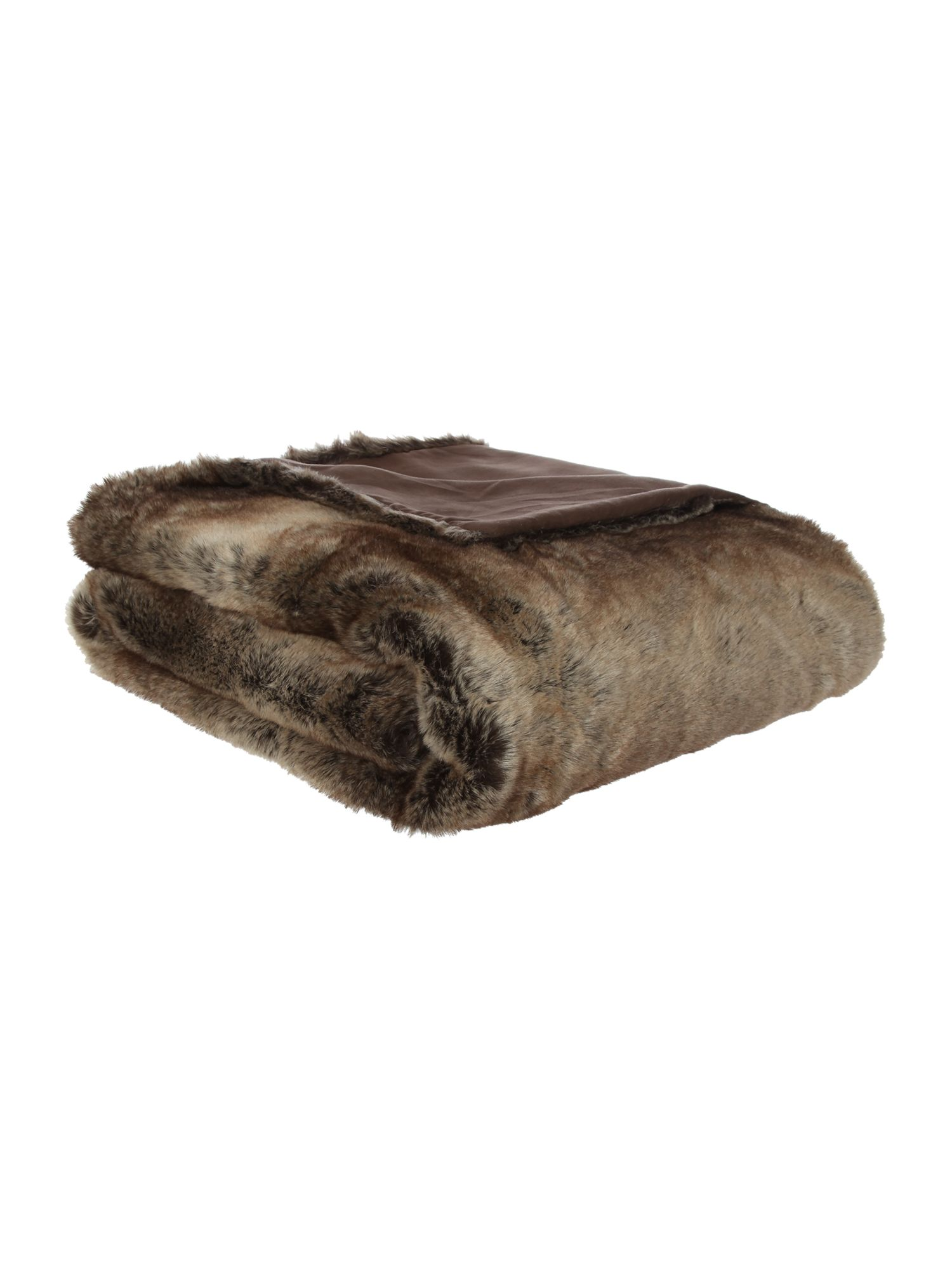 Linea Brown stripe faux fur throw