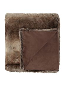 Brown stripe faux fur throw
