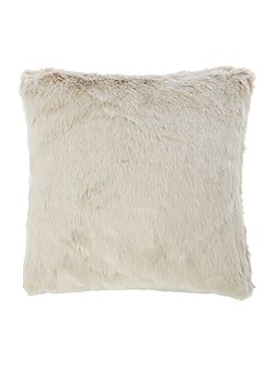Mocha faux fur cushion