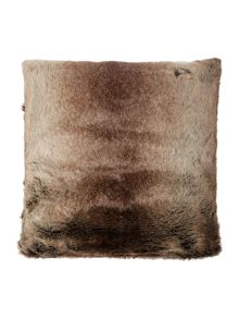 Brown stripe faux fur cushion