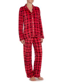 DKNY Boxed Fleece Check PJ Set