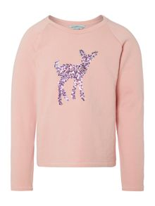 Little Dickins & Jones Girls Ruby sequinned bambi sweat
