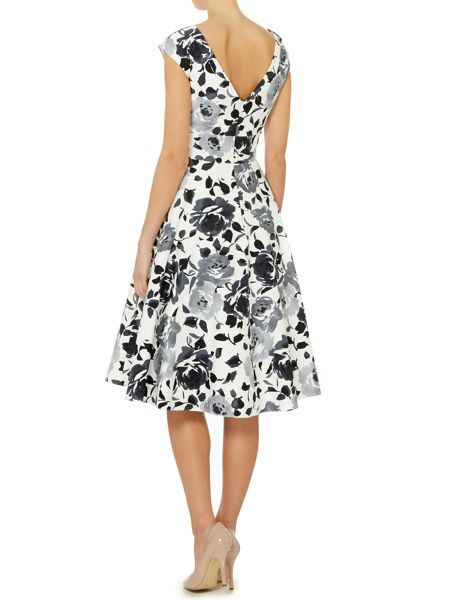 Ariella Fit and flare cotton sateen dress