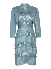 Eliza J Satin shutter dress with jacket