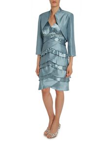 Satin shutter dress with jacket