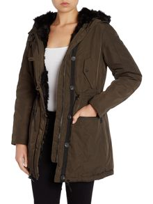 Parka style coat with faux fur lining