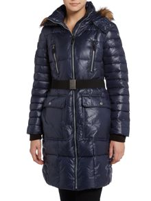 Long padded coat with belt