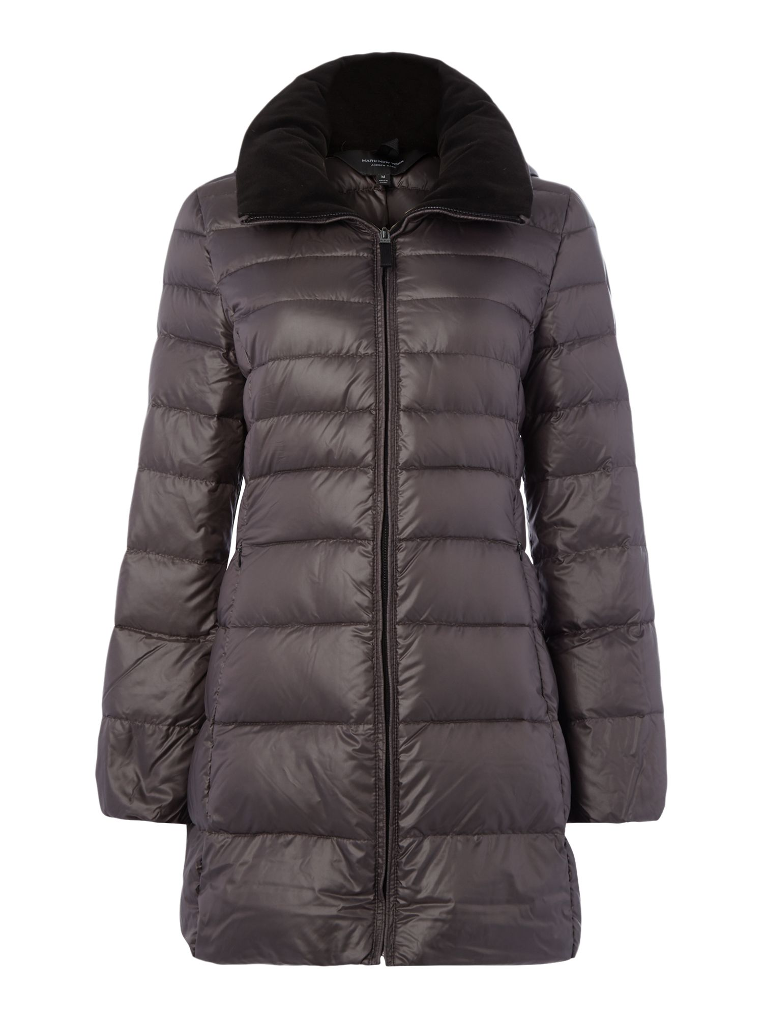 Andrew Marc Padded Style Coat With Hood, Grey