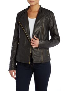 Andrew Marc PU jacket with asymetric zip