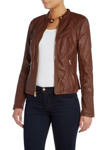 PU jacket with diamond quilting detail