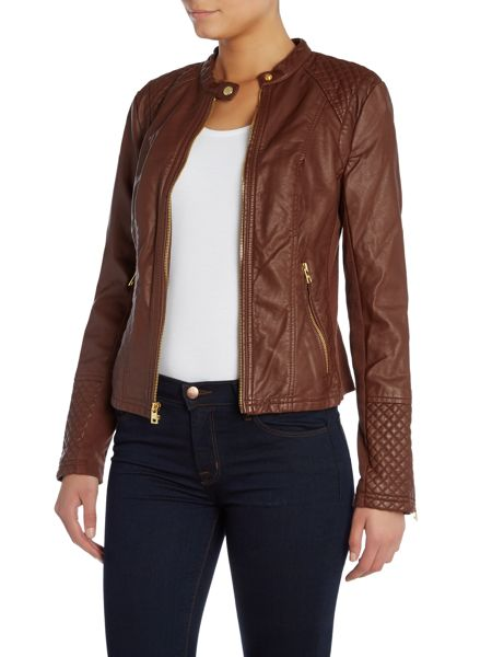 Andrew Marc PU jacket with diamond quilting detail