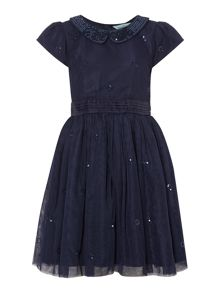 Little Dickins & Jones Girls Sequin collar party dress