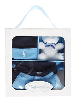 Baby boys shawl coverall gift box set