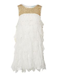 Girls Maya sequinned dress with tulle layers