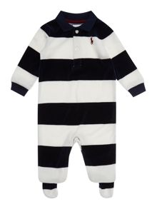 Baby boys velour block stripe all in one