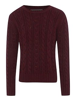 Boys Kevin cable crew neck jumper