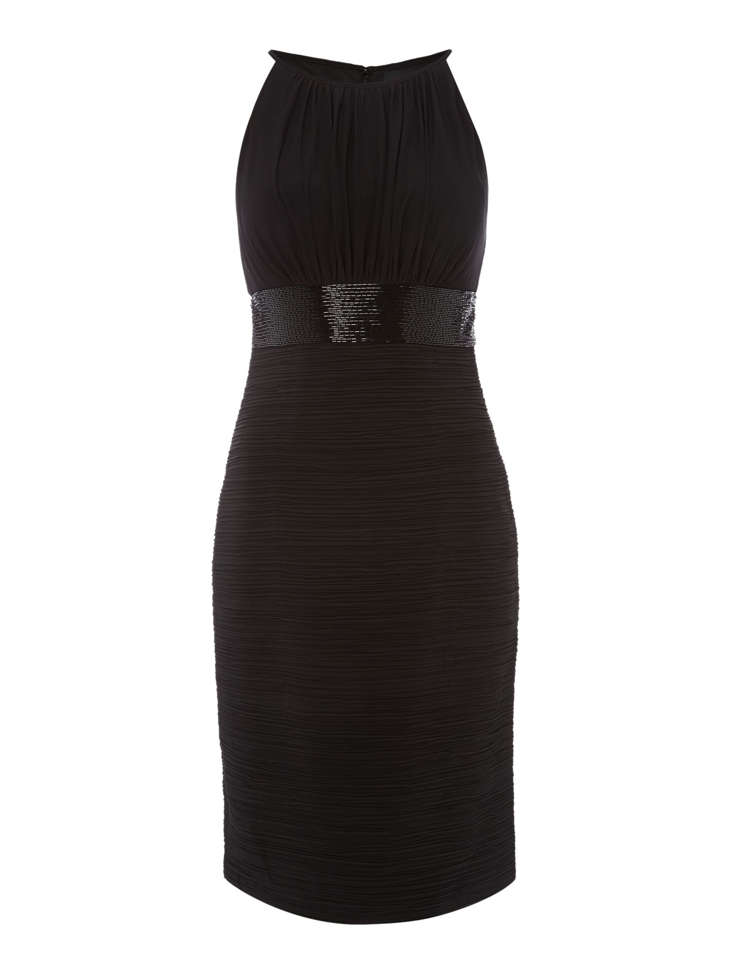 Js Collections JS Collections Jersey halter dress with beaded waistband, Black