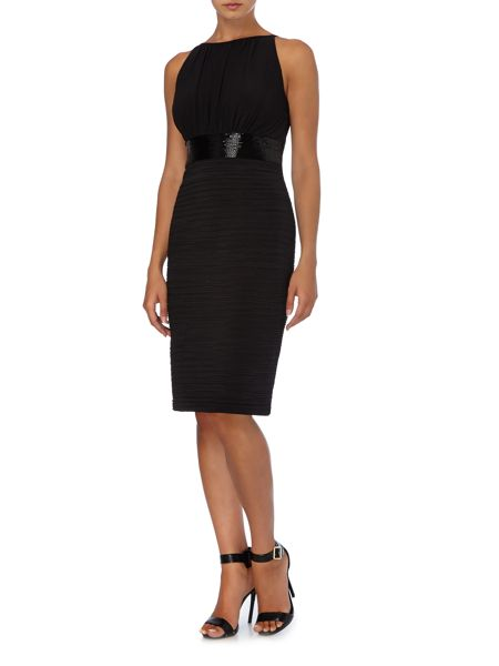JS Collections Jersey halter dress with beaded waistband