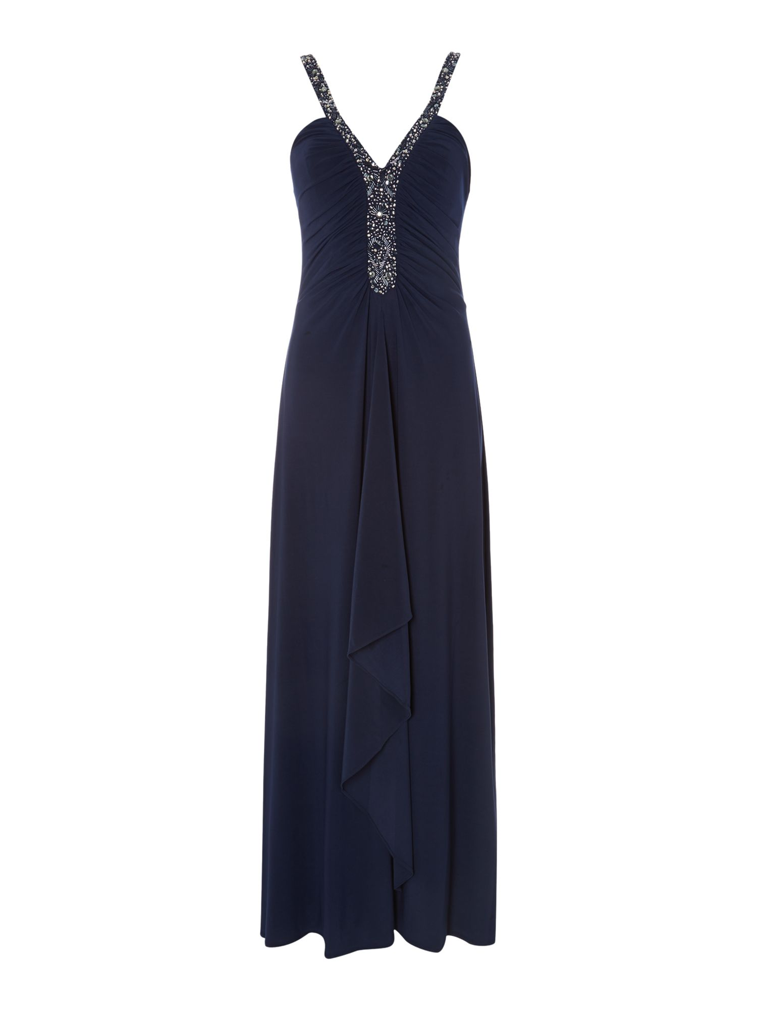 Js Collections JS Collections Deep V beaded dress, Navy