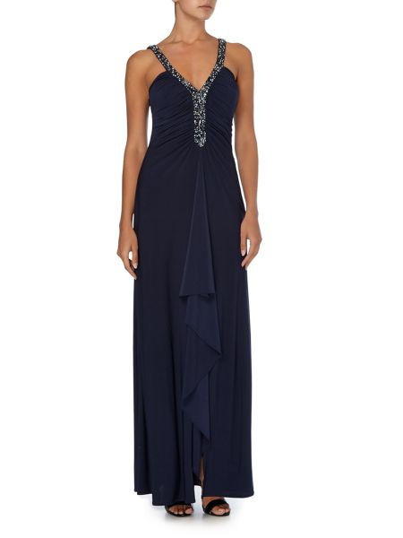 JS Collections Deep V beaded dress