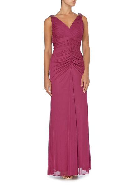 JS Collections V neck dress with beaded shoulder detail