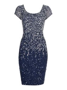 Ombre beaded dress with cap sleeves