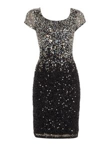 JS Collections Ombre beaded dress with cap sleeves