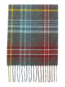 Johnstons of Elgin Long Red & Blue Check Scarf
