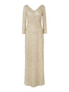 All over sequin gown with 3/4 sleeves