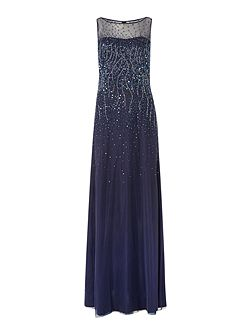 JS Collections Ombre sequin gown with illusion neckline