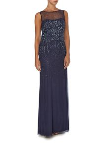 Ombre sequin gown with illusion neckline