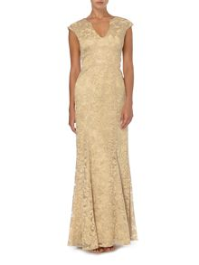 JS Collections V neck metallic lace gown