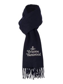 Silver Embroidered Logo Scarf