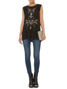 Beaded tribal sleeveless top